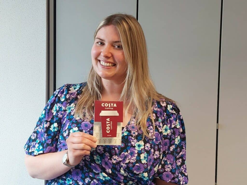 Sophie H Holding Costa Coffee Gift Card